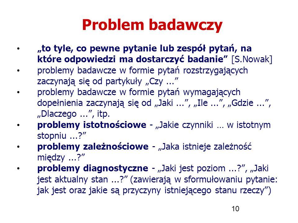 """Problem badawczy """"to tyle, co pewne pytanie lub zespół pytań, na które odpowiedzi ma dostarczyć badanie [S.Nowak]"""